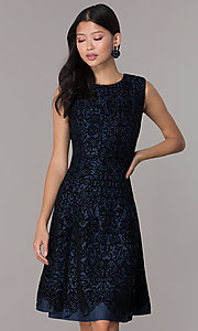 Image of short flocked holiday party dress in navy blue. Style: ECI-720401-8279 Front Image