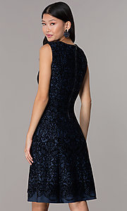Image of short flocked holiday party dress in navy blue. Style: ECI-720401-8279 Back Image