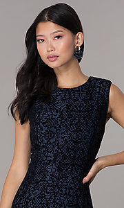 Image of short flocked holiday party dress in navy blue. Style: ECI-720401-8279 Detail Image 1