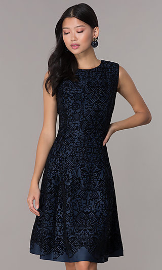 Short Flocked Holiday Party Dress in Navy Blue