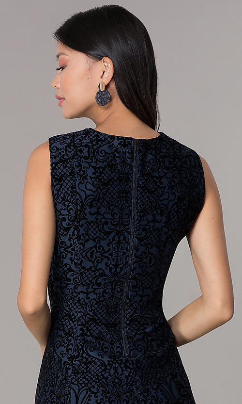Image of short flocked holiday party dress in navy blue. Style: ECI-720401-8279 Detail Image 2