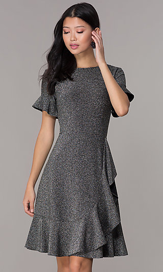 Flutter-Sleeve Silver Glitter Holiday Party Dress