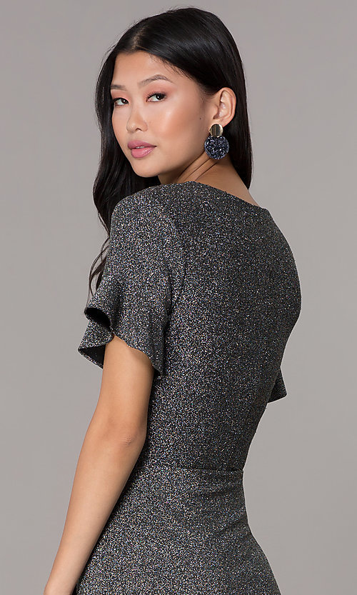 Image of flutter-sleeve silver glitter holiday party dress. Style: ECI-720351-8320A Detail Image 2