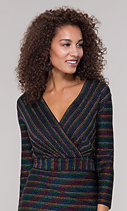 Image of striped short v-neck holiday dress with glitter. Style: ECI-720341-8298A Detail Image 1