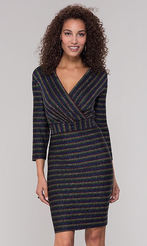 Image of striped short v-neck holiday dress with glitter. Style: ECI-720341-8298A Front Image