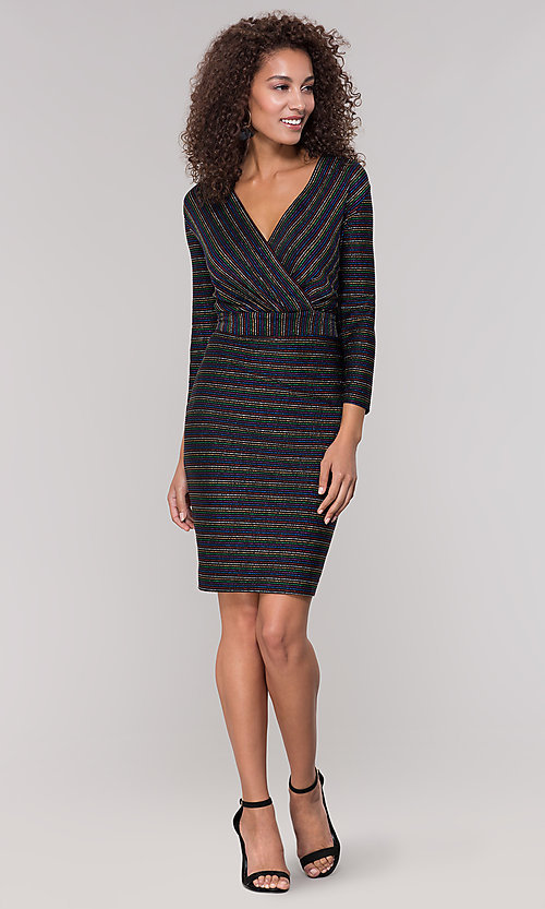 Image of striped short v-neck holiday dress with glitter. Style: ECI-720341-8298A Detail Image 3