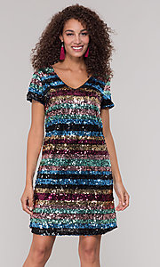 Image of short sequin multicolored striped holiday dress. Style: ECI-720329-8296A Front Image