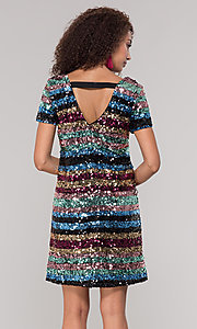 Image of short sequin multicolored striped holiday dress. Style: ECI-720329-8296A Back Image