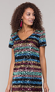 Image of short sequin multicolored striped holiday dress. Style: ECI-720329-8296A Detail Image 1