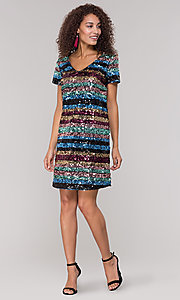 Image of short sequin multicolored striped holiday dress. Style: ECI-720329-8296A Detail Image 3
