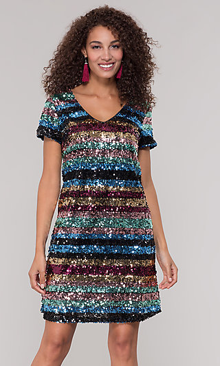 Short Sequin Multicolored Striped Holiday Dress