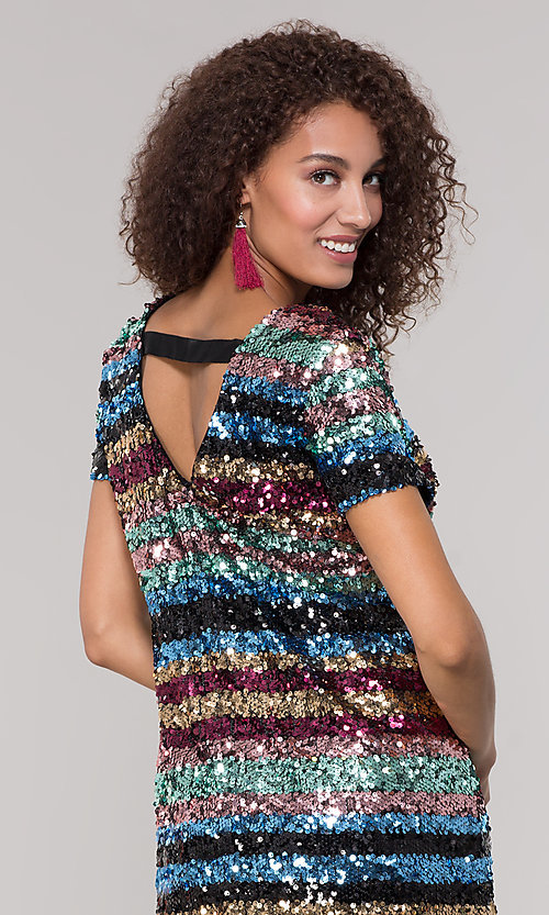 Image of short sequin multicolored striped holiday dress. Style: ECI-720329-8296A Detail Image 2