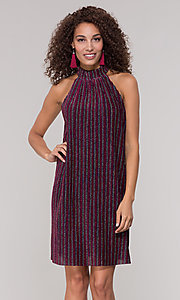 Image of fuchsia-striped glitter short holiday party dress. Style: ECI-719302-8299A Front Image