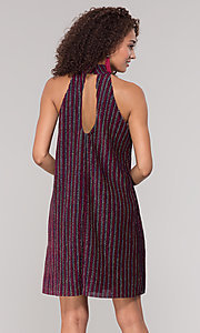 Image of fuchsia-striped glitter short holiday party dress. Style: ECI-719302-8299A Back Image