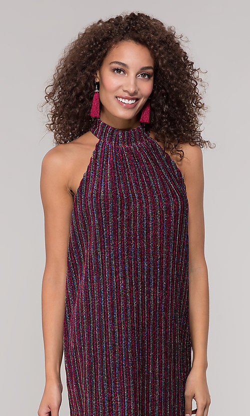 Image of fuchsia-striped glitter short holiday party dress. Style: ECI-719302-8299A Detail Image 1