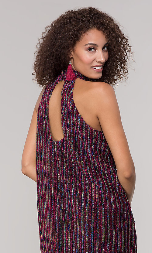 Image of fuchsia-striped glitter short holiday party dress. Style: ECI-719302-8299A Detail Image 2