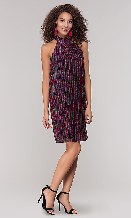 Image of fuchsia-striped glitter short holiday party dress. Style: ECI-719302-8299A Detail Image 3