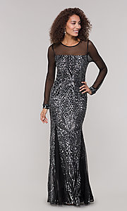 Image of long-sleeve mother-of-the-bride dress with sequins. Style: MO-21702 Detail Image 3