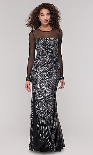 Long-Sleeve Mother-of-the-Bride Dress with Sequins