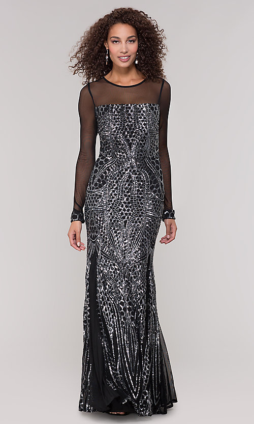 Image of long-sleeve mother-of-the-bride dress with sequins. Style: MO-21702 Front Image