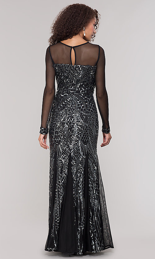 Image of long-sleeve mother-of-the-bride dress with sequins. Style: MO-21702 Back Image