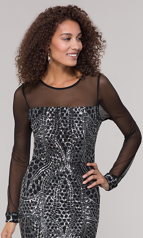 Image of long-sleeve mother-of-the-bride dress with sequins. Style: MO-21702 Detail Image 1