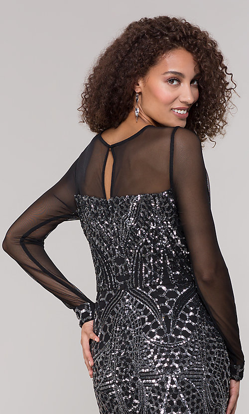 Image of long-sleeve mother-of-the-bride dress with sequins. Style: MO-21702 Detail Image 2