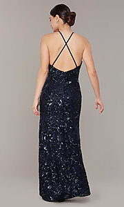 Image of backless navy blue long sequin formal dress. Style: MO-21732 Back Image