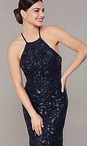 Image of backless navy blue long sequin formal dress. Style: MO-21732 Detail Image 2