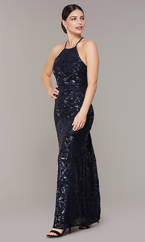 Image of backless navy blue long sequin formal dress. Style: MO-21732 Front Image