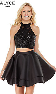 Image of short sequin-top two-piece homecoming dress by Alyce. Style: AL-4065 Front Image