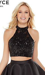 Image of short sequin-top two-piece homecoming dress by Alyce. Style: AL-4065 Detail Image 1