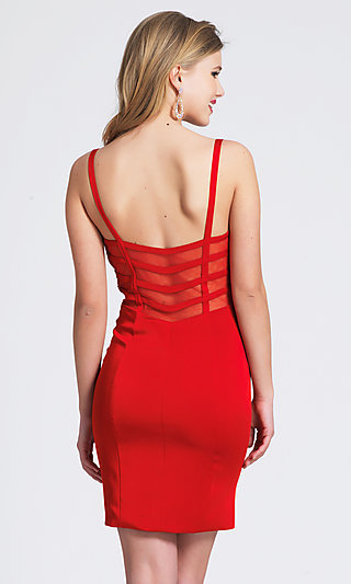 Short Sheer-Back Red Cocktail Party Dress