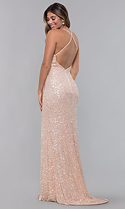 Image of sequin-mesh long formal prom dress with open back. Style: PV-PL-123 Back Image