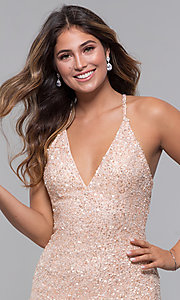 Image of sequin-mesh long formal prom dress with open back. Style: PV-PL-123 Detail Image 1