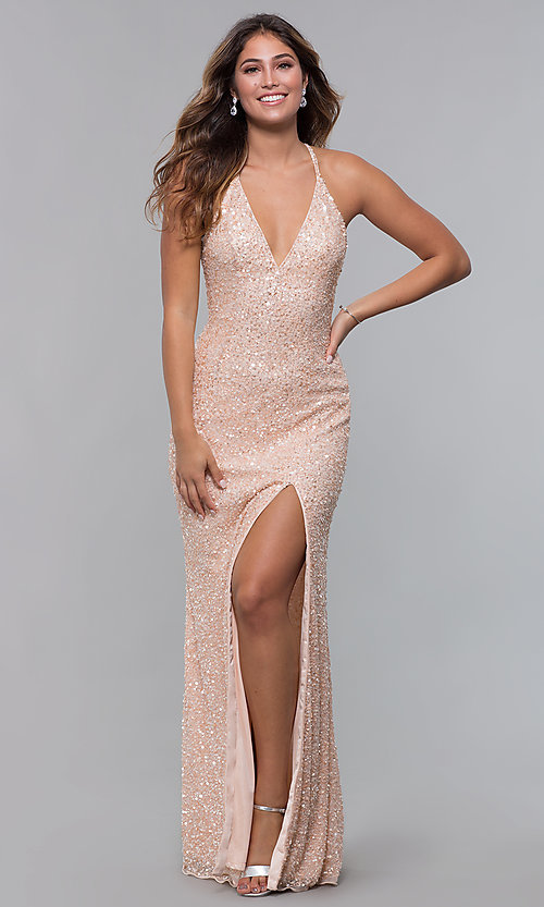 Image of sequin-mesh long formal prom dress with open back. Style: PV-PL-123 Front Image