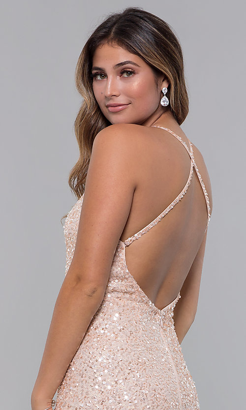 Image of sequin-mesh long formal prom dress with open back. Style: PV-PL-123 Detail Image 2