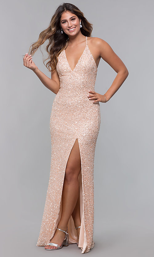 Image of sequin-mesh long formal prom dress with open back. Style: PV-PL-123 Detail Image 3