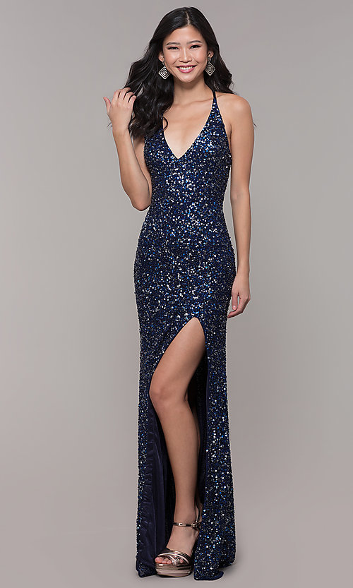 Image of sequin-mesh long formal prom dress with open back. Style: PV-PL-123 Detail Image 4