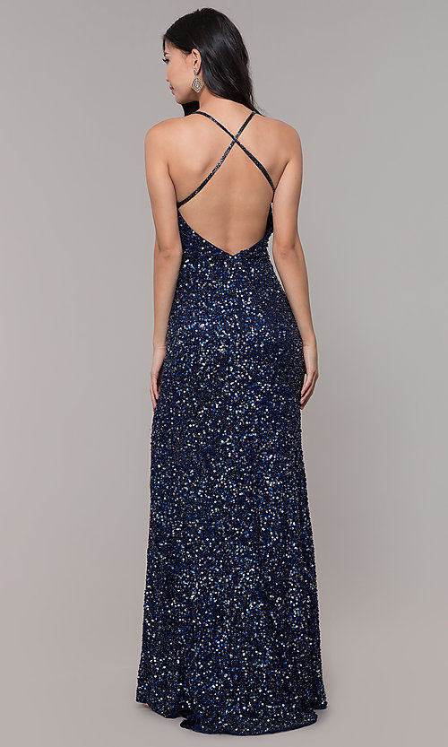 Image of sequin-mesh long formal prom dress with open back. Style: PV-PL-123 Detail Image 5