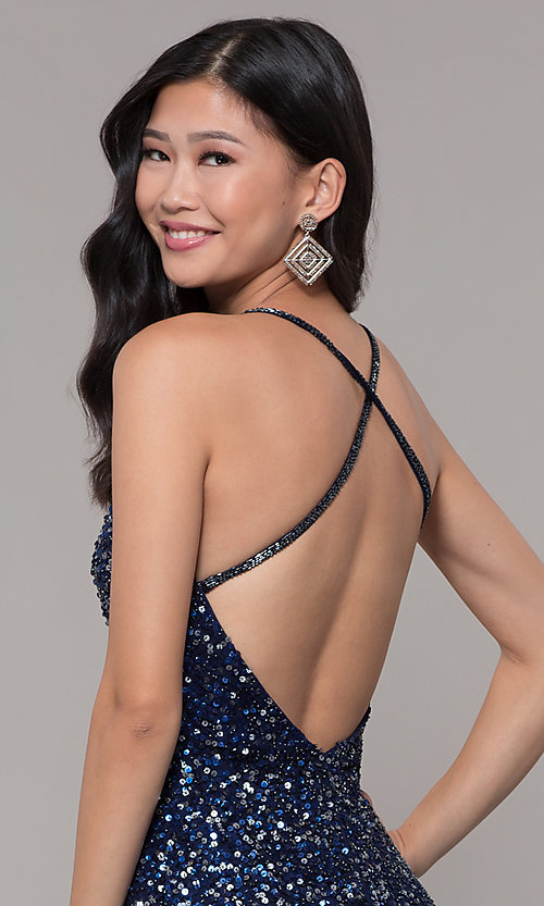 Image of sequin-mesh long formal prom dress with open back. Style: PV-PL-123 Detail Image 7