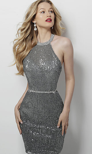 Short Open-Back Sequin Silver Homecoming Dress
