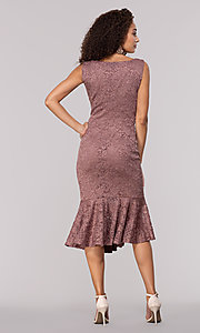 Image of glitter-lace knee-length wedding-guest party dress. Style: JU-MA-261815 Back Image