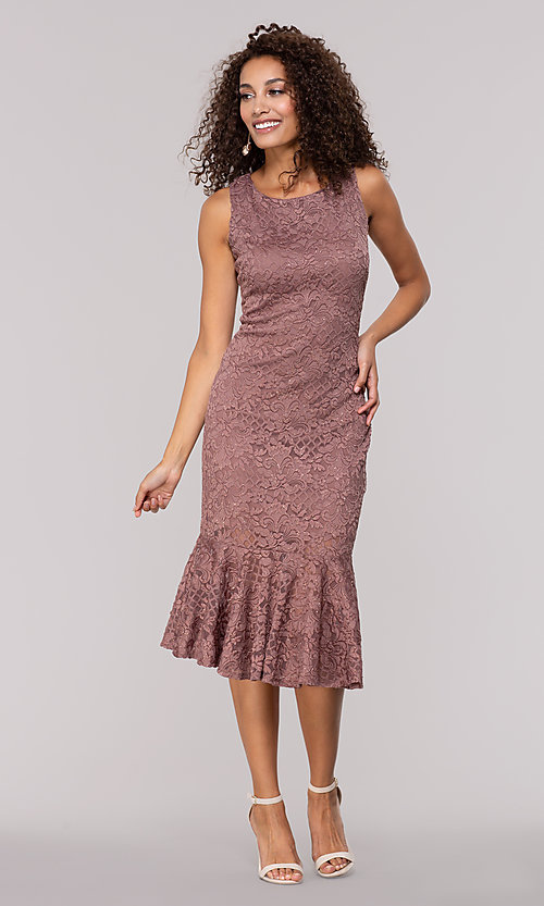 Image of glitter-lace knee-length wedding-guest party dress. Style: JU-MA-261815 Detail Image 3