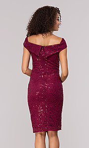 Image of burgundy red lace wedding-guest dress. Style: JU-MA-262039 Back Image