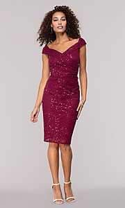 Image of burgundy red lace wedding-guest dress. Style: JU-MA-262039 Detail Image 3