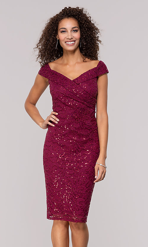 Image of burgundy red lace wedding-guest dress. Style: JU-MA-262039 Front Image