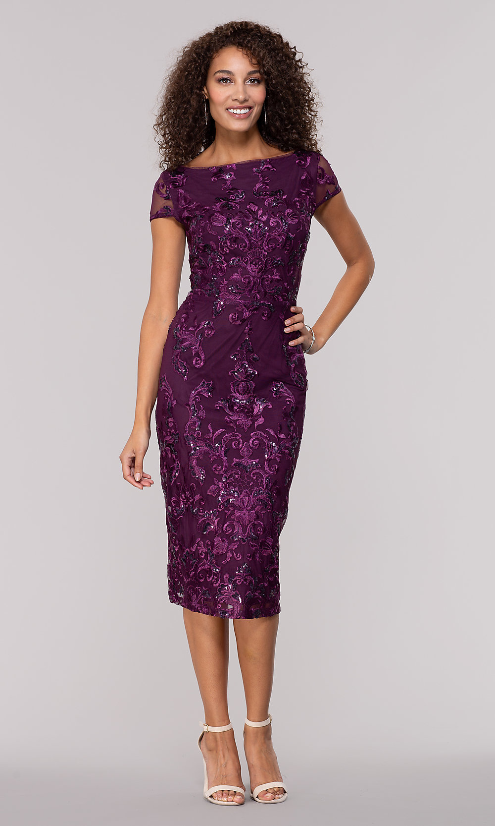 Embroidered Knee Length Purple Wedding Guest Dress