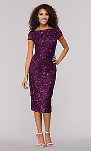 Image of knee-length wedding-guest dress in eggplant purple. Style: JU-MA-261915 Front Image