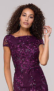 Image of knee-length wedding-guest dress in eggplant purple. Style: JU-MA-261915 Detail Image 1